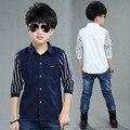 Лето весна осень ребенка clothing детская одежда лоскутное рубашки мальчиков рубашки ребенка с длинным рукавом полосатой рубашке