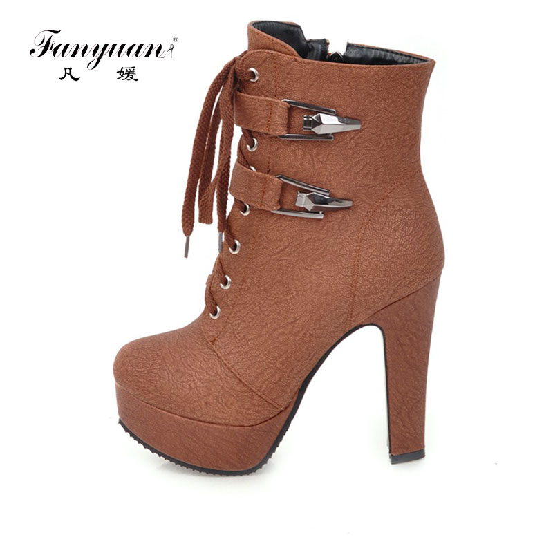 Fanyuan 2017 New Fashion Women Ankle Boots Platform Short Sexy High Heels Shoes Women Short Buckle Boots Lace Up Botines Mujer стоимость
