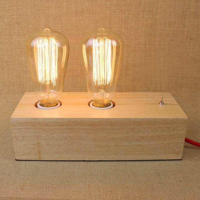 Vintage double head wood Table Lamps Edison Bulb Desk Lamp wooden light  fixtures E27 modern table. Aliexpress com   Buy Vintage double head wood Table Lamps Edison