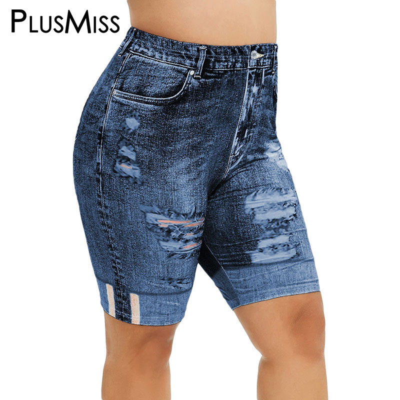 PlusMiss Plus Size 5XL 3D Jean Denim Print Short   Leggings   Women Big Size Skinny Cropped Jeggings Capri Leggins XXXXL XXXL XXL