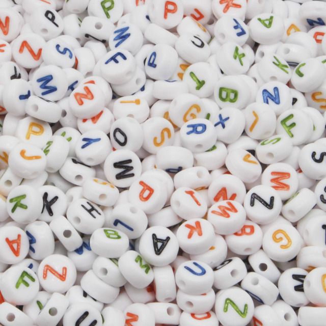 300PCS Round Mix Color Acrylic Letter Beads for Jewelry Making Kid Diy Material Loose Spacer 4*7mm