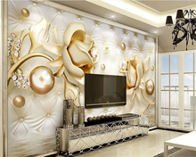 beibehang papel de parede 3d luxury fit indoor wallpaper golden roses soft bag ball jewelry TV bedroom background wall tapety