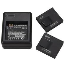 2Pcs AZ13-1 Battery for Xiaomi yi 1010mAh Battery + USB Battery Charger For Xiaomi Yi Action Camera Replacement Battery Batteria