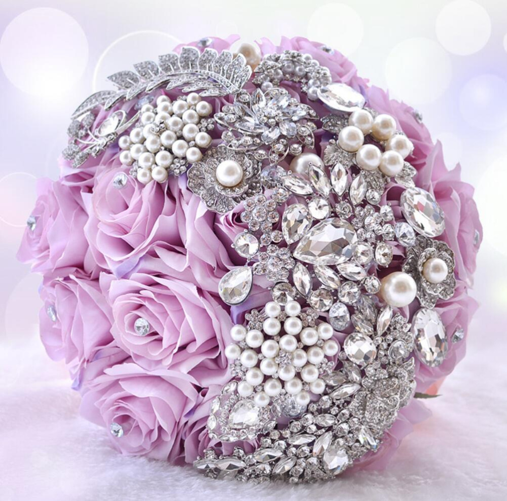 AYiCuthia Gorgeous Beaded Crystal Wedding Bouquet Ivory Rose Bridesmaid Flowers Artificial Sapphire Pearl Bridal Bouquets S85