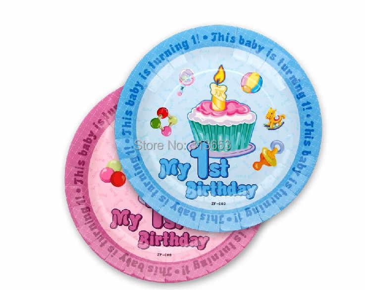 Primeiro aniversário dos desenhos animados placa/placa de 7 polegada de papel de aniversário, decoração do partido talheres para meninos e meninas