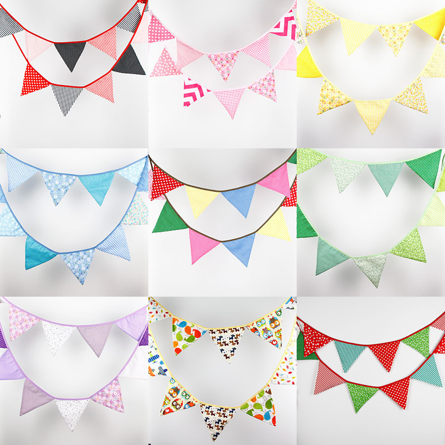 3.2M 12flags Vintage Fabric Bunting Wedding Birthday Party ...