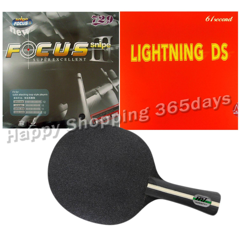 Pro Table Tennis PingPong Combo Racket HRT Black Crystal with RITC 729 FOCUS3 Snipe and 61second Lightning DS