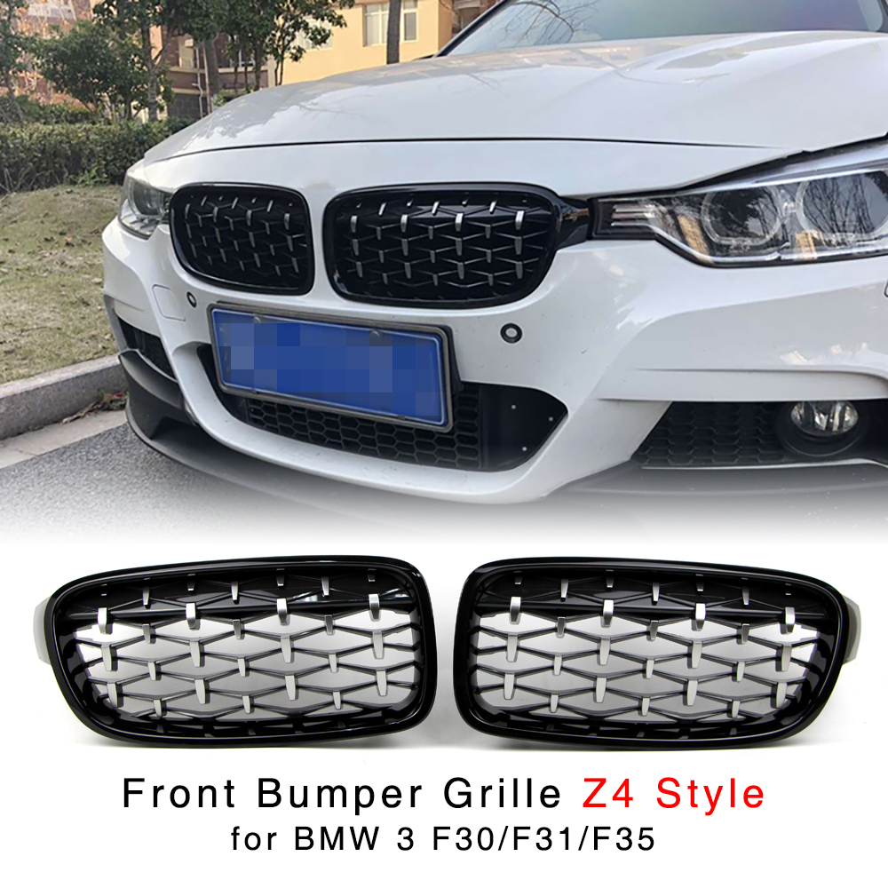 Kidney Grille for BMW 3 Series F30 F31 F35 320i 328d 330i 328i 335i 325i 2012 2016 Diamond Silver Front Bumper Grill Z4 Style-in Racing Grills from Automobiles & Motorcycles    1