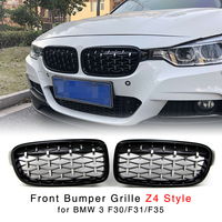 Kidney Grille for BMW 3 Series F30 F31 F35 320i 328d 330i 328i 335i 325i 2012-2016 Diamond Silver Front Bumper Grill Z4 Style