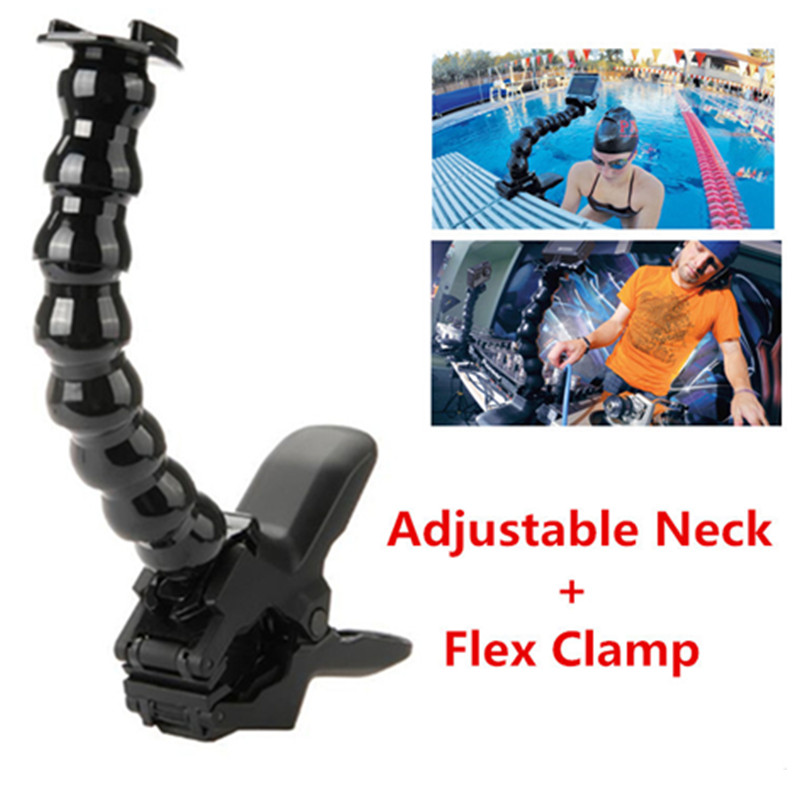 Accesories For Gopro, Jaws Flex Clamp Mount and Adjustable Neck for GoPro Accessories or Camera Hero1/2/3/3+/4 sj4000/5000/6000
