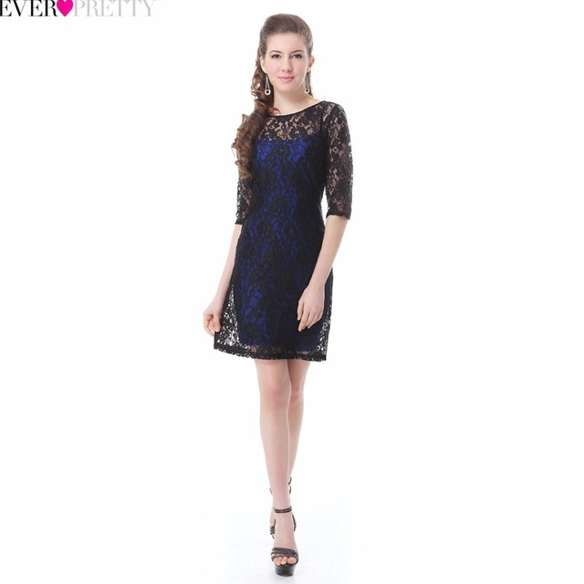 [Clearance Sale] New Elegant Cocktail Dresses Ever Pretty HE03790 2017 Sexy Short Cocktail Party Lace Dresses With Half Sleeves Cocktail Dresses