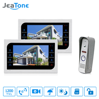 JeaTone 7 Video Door Phone Intercom System Support Recording Picture Memory Touch Key Indoor Monitor 2V1