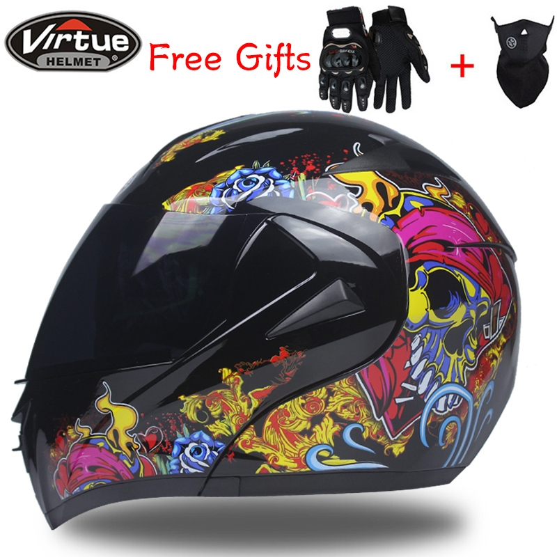 Casques de moto Dual Visor Modular Flip Up helmet motorcycle helmet racing Motorcross helmet DOT approved