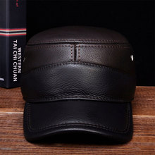 HL088 Mens genuine leather baseball caps New brand new winter warm Russian real
