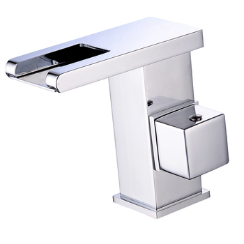 Kitchen Basin, waterfall faucet, temperature control, all copper LED square faucet, colourless faucet with lamp wx5101400