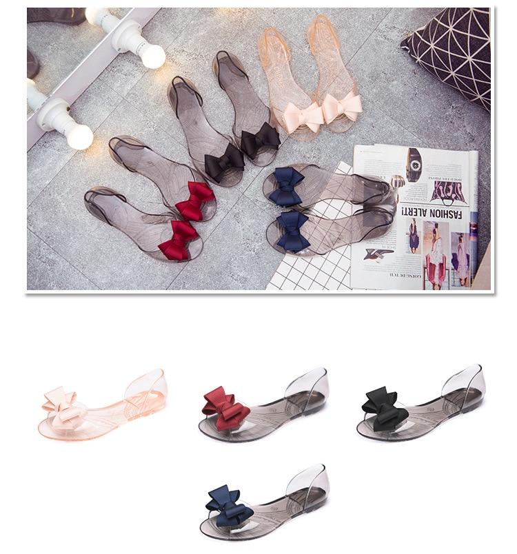 HTB13GljainrK1Rjy1Xcq6yeDVXa5 Women Sandals Open Toe Summer Jelly Shoes Woman Fashion Butterfly-knot Flat Sandals Women Beach Shoes Slip On Flip Flops WSH3149