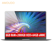 Amoudo New 15.6inch 6GB RAM+2TB HDD+64GB eMMC 1920*1080P IPS Screen Intel Apollo Lake N3450 Quad Core   Laptop   Notebook Computer