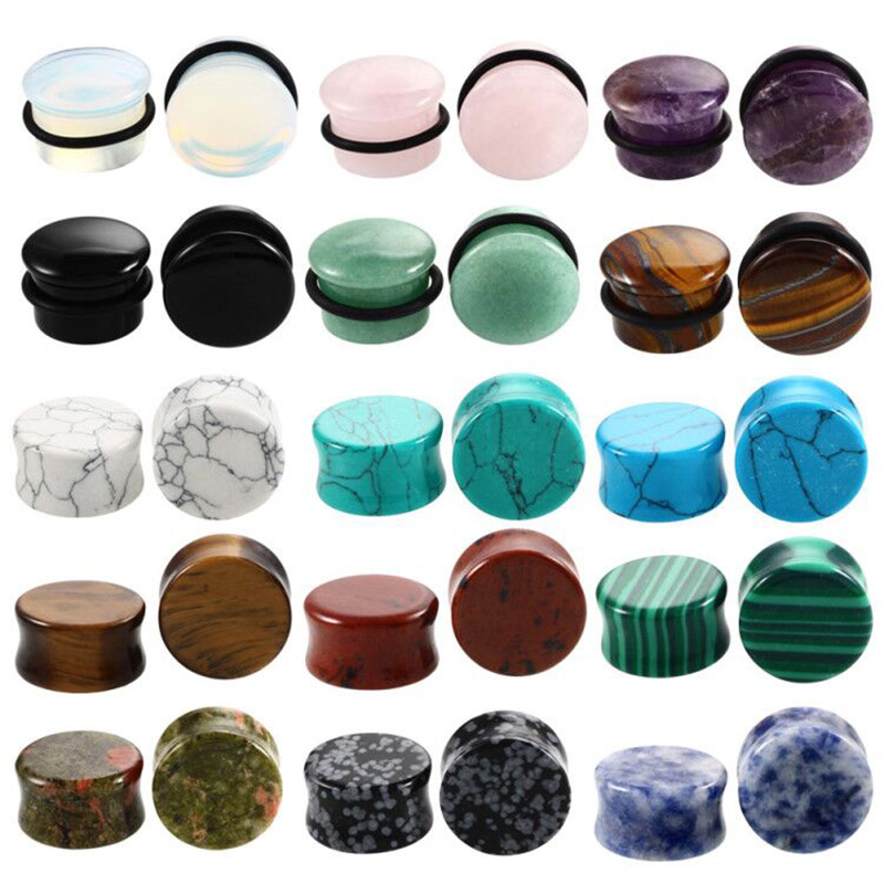 2PCS/Lot Stone Ear Plugs Gauges Earrings Women Men Ear Plug Flesh Tunnel Piercing Expander Ear Stretcher Body Piercing Jewelry(China)