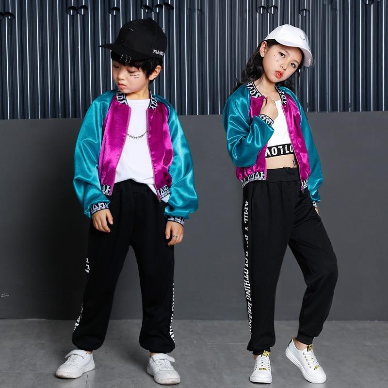 Children Jazz Modern Dance Costumes Jacket Tee Pants 3pcs Set Boys Girls Hip Hop Street Dance Costume Sets H117 children hip hop clothing t shirt long sleeve shirt leggings short pants 4pcs set girls boys street dance costume y919