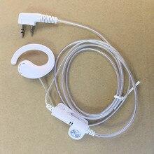 honghuismart White color 2pins K plug headset aluminum cable for Kenwood Baofeng uv5r 888s,Quansheng,Puxing etc walkie talkie