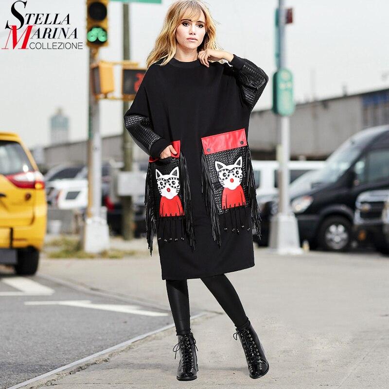 New 2019 Women Autumn Winter Black Midi Dress Plus Size Large PU Pocket & Fringes Ladies Stylish Party Club Wear Cute Dress 3084