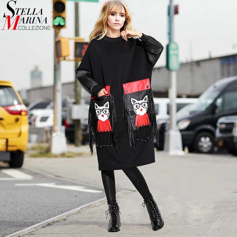 Nieuwe 2019 Vrouwen Herfst Winter Black Midi Dress Plus Size Lange Mouwen Cartoon PU Grote Zak & Fringe Dames Leuke kleding Gewaad 3084
