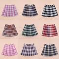 Hot sale summer women fashion Campus wind Kawaii high waist Pleated lattice A-line skirt Large size XS-4xL