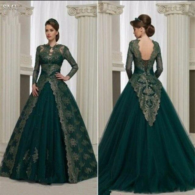 SML Gorgeous Long Sleeve Dark Green Arabia Evening Dresses 2017 Lace ...