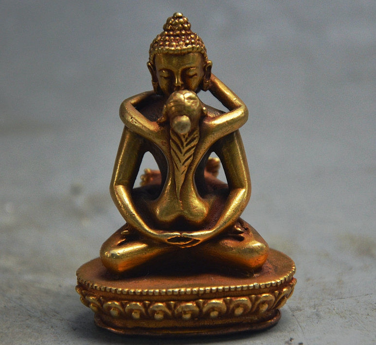 Rare Old Tibet Buddhism Bronze Gilt Sakyamuni Yab-yam Tathagata Buddha StatueRare Old Tibet Buddhism Bronze Gilt Sakyamuni Yab-yam Tathagata Buddha Statue
