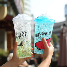 Abay Individual Double-Layer Fluorescent Plastic Cold Drink Cup With Straw Fruit Style Sand Ice Juice Cup Milk Tea Bar Supplies цена и фото