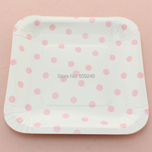 24pcs 7\  Light Pink Polka Dot Square Paper PlatesCheap Kids Dessert Dinner Picnic Paper Dishes BulkBirthday Party Baby Shower  sc 1 st  AliExpress.com & Popular Paper Square Plates-Buy Cheap Paper Square Plates lots from ...