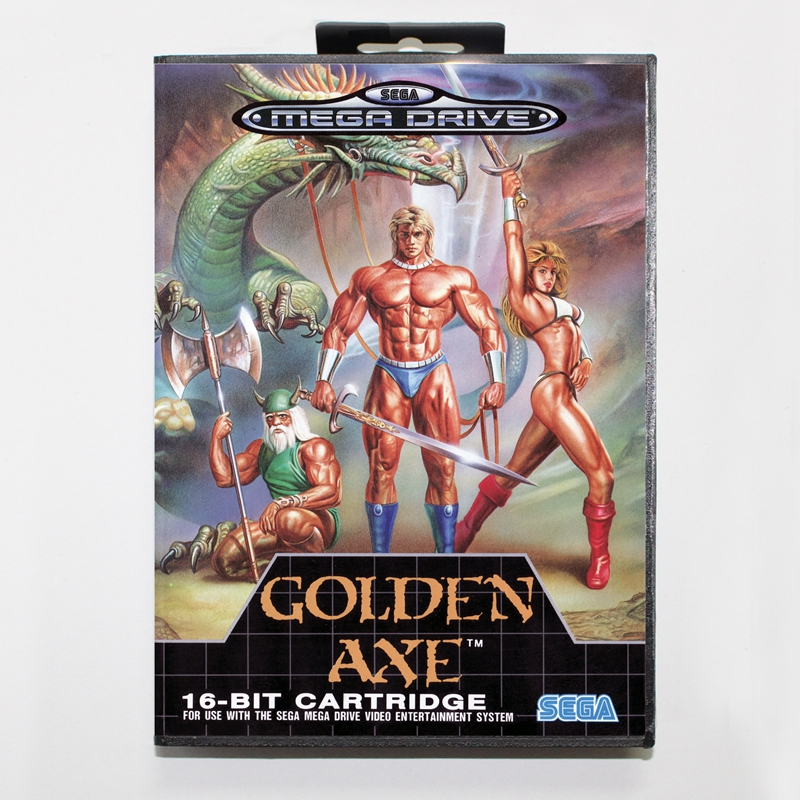 Sega MD games card - Golden Axe with box for Sega MegaDrive Video Game Console 16 bit MD card