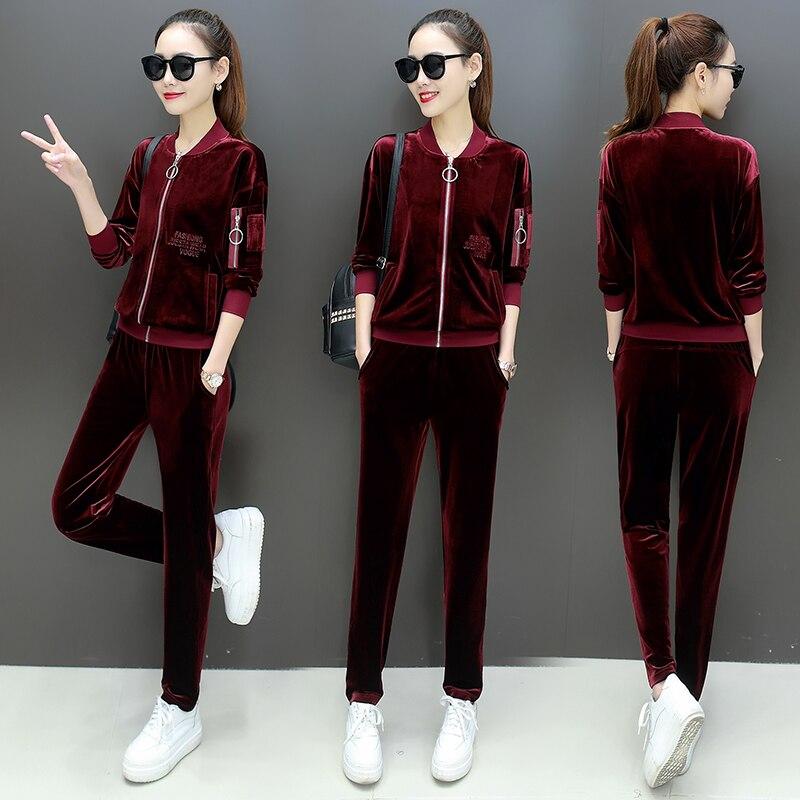 Or velours sport costume femme automne mode loisirs femmes de deux pièce sportwear ensembles long pantalon ensemble femme ensemble grand 3XL