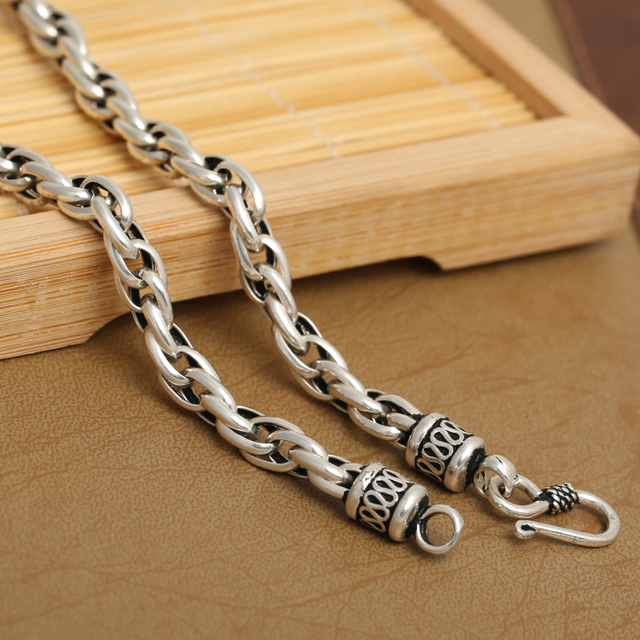 6MM Handmade Thai 925 Silver Necklace Handcrafted Vintage 925 Sterling Silver Neckace Real Silver Man Necklace
