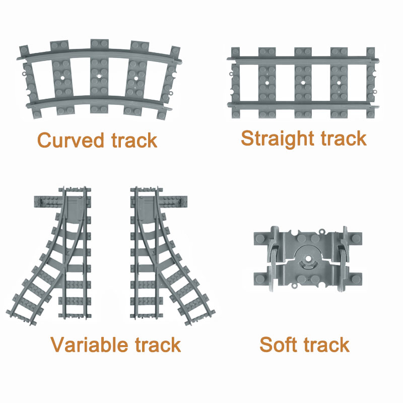 City Trains Flexible Track Accessory Flexible Rail Switch Building Block Bricks Kids Toys Compatible With Brand Tracks 7499(China)