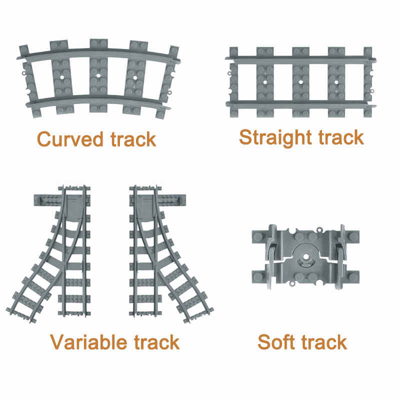 City Trains Flexible Track Accessory Flexible Rail Switch Building Block Bricks Kids Toys Compatible With Brand Tracks 7499