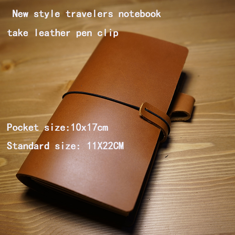 New design genuine leather travelers journal notebook take leather penclip vintage kraft line page paper sprial school supplies