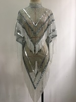 Модные блестящие белый блестящий наряд плащ накидка на Для женщин пикантные вечерние с блестками и с бахромой, сценический костюм для танце