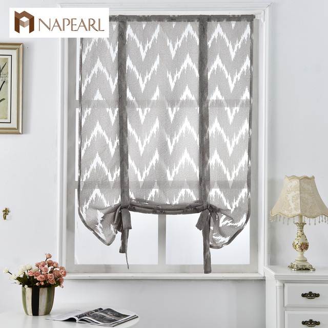 Kitchen Short Curtains Window Treatments Curtain Roman Blinds Jacquard Striped Home Textile Decorative Cafe