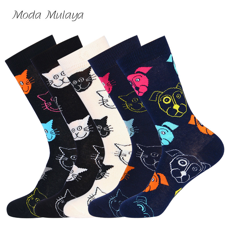 New Arrival Women's Funny Socks Womens Cartoon 100% Combed Cotton Cat Dog Pattern Happy Socks Unisex Harajuku Ankle Women Socks