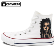 High Top Converse All Star Men Women Shoes Tattoo Skull Design Custom Hand Painted Canvas Sneakers Man Woman