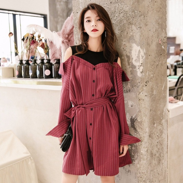 466f08e43d44b US $95.0 |OTHERMIX woman long sleeve tunic two piece dress 2018 spring  women cotton clothes off the cold shoulder dresses loose 7MB3057N-in  Dresses ...