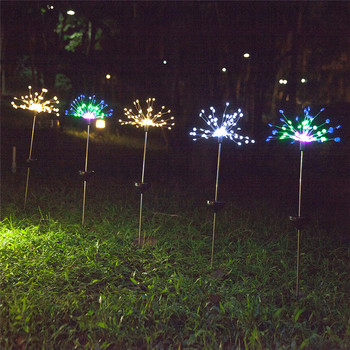 Solar Lawn Lights | New 2pcs 90 Solar LED Light Snowflake Dandelion Shape Grass Fireworks Lamp Outdoor Lawn Garden Lights SF66