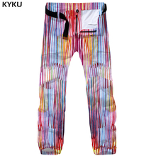 KYKU Paint Cargo Pants Men Retro Pants Tactical Baggy 3d Print Pants Colorful Straight Vintage Mens