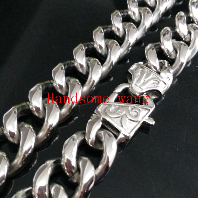 15MM Width 316 Stainless Steel High Quality Silver Nacklace/Bracelet Chain For Cool Boys Jewelry 7-40inch Free Custom Sizes