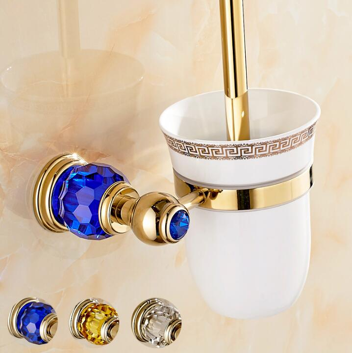 все цены на Luxury Golden plated finish toilet brush holder with Ceramic cup/ household products bath decoration bathroom accessories онлайн