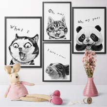 Watercolor Funny Expression Cute Animal Panda Dog Pig Cat Canvas Art Painting Print Poster Childrens Bedroom Home Decoration