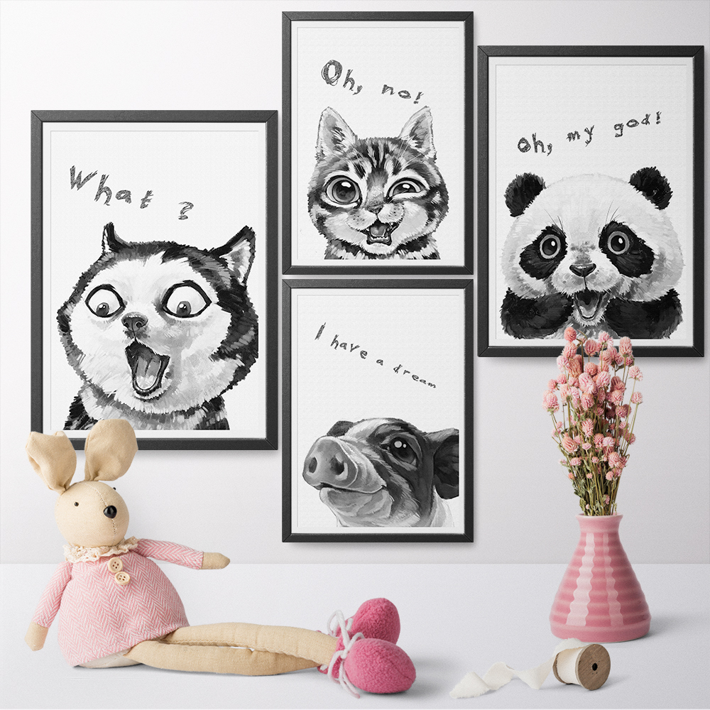 Watercolor Funny Expression Cute Animal Panda Dog Pig Cat Canvas Art Painting Print Poster Children's Bedroom Home Decoration