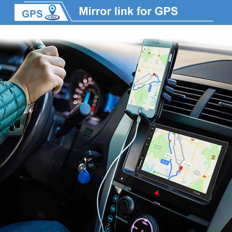 MP5 プレーヤー Autoradio Bluetooth カーラジオ 7 インチタッチ鏡リンク Android サブウーファーリアビューカメラハンズフリー AUX RCA オーディオ