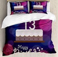 14th Birthday Duvet Cover Set Hand Drawn Style Party Cake with Number Candles on Abstract Backdrop 4 Piece Bedding Set